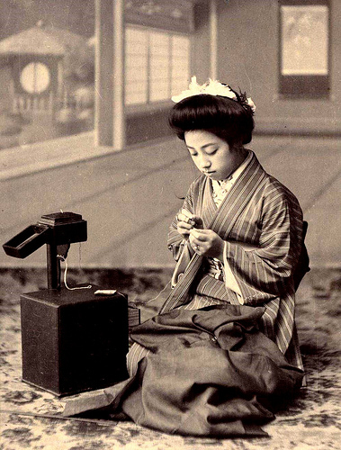 "THE SEWING BOX -- A Geisha of Old Japan Makes Repairs and Adjustments to Her ""Haori"" (Outer Kimono Jacket)"