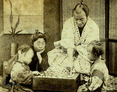 "BAKUMATSU BABIES -- Smiling Father Teaches His Kids the Game of ""Go"" in Old Japan"