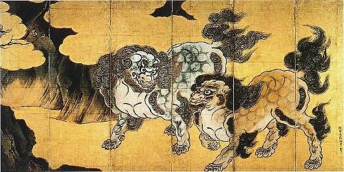 狩野永徳 唐獅子図