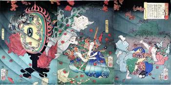 歌川芳年-美談武者八景-戸隠の晴嵐-大判三枚続