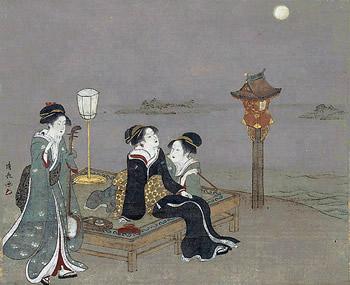 鳥居清長-真崎の月見図
