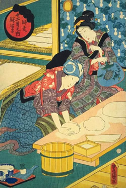歌川豊国-十二月の内-師走餅つき