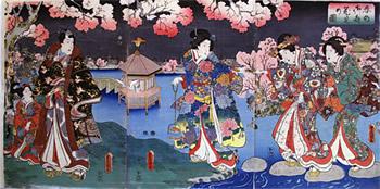 歌川豊国-春の御庭花見の図